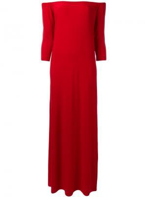 Платье шифт с открытыми плечами Norma Kamali. Цвет: красный