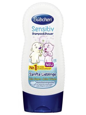 Бюбхен Шампунь для мытья волос и тела детей с чувствительной кожей Ласковый нежный, 230 мл. Bubchen. Цвет: синий, белый