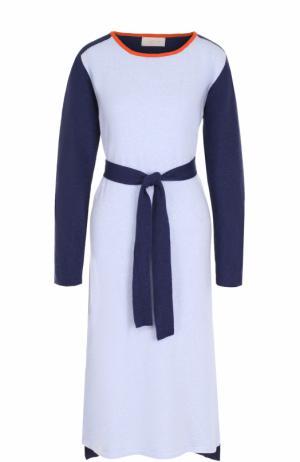 Вязаное платье-миди с длинным рукавом и поясом Tak.Ori. Цвет: голубой