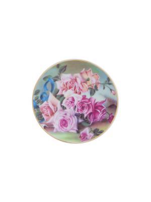 Тарелка декоративная Розы Elan Gallery. Цвет: зеленый, розовый