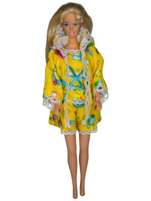 Одежда для сна куклы 29 см: халат, кофточка и шортики Модница.. Цвет: бирюзовый, белый, желтый