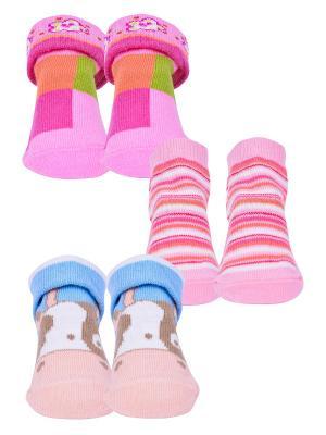 Носки, 3 пары Malerba. Цвет: салатовый, голубой, розовый