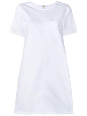 Платье-шифт с необработанными краями Current/Elliott. Цвет: белый