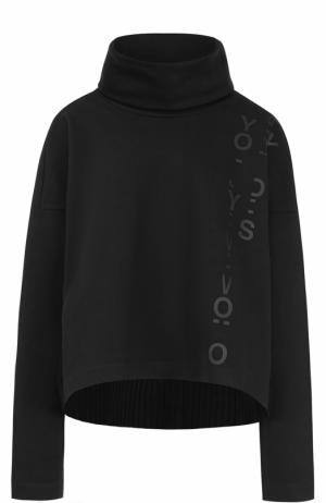 Хлопковый свитер свободного кроя с воротником-стойкой Y-3. Цвет: черный