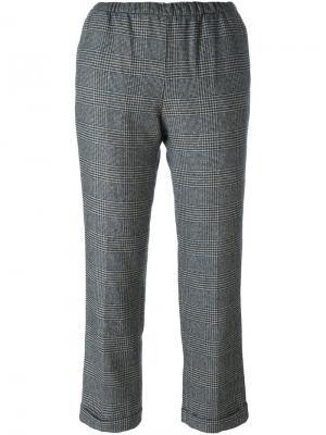 Укороченные брюки с клетчатым принтом Masscob. Цвет: чёрный
