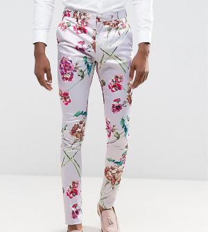 ASOS Розовые супероблегающие строгие брюки с цветочным принтом TALL. Цвет: розовый