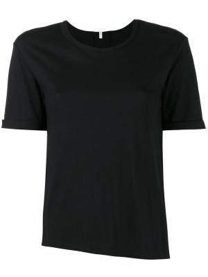 Асимметричная футболка с круглым вырезом Lot78. Цвет: чёрный