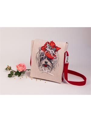 Набор для шитья и вышивки текстильная сумка- планшет Малышка йорк Матренин Посад. Цвет: красный, серый