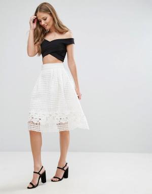 Forever Unique Короткая расклешенная юбка с сетчатым верхним слоем. Цвет: белый