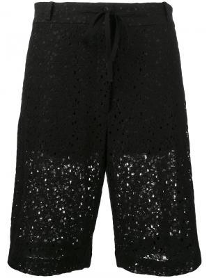 Удлиненные шорты с цветочным узором 6397. Цвет: чёрный