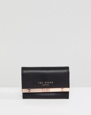 Ted Baker Кожаный кошелек Consortina. Цвет: серый