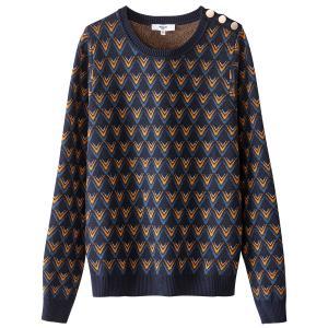 Пуловер из тонкого трикотажа с круглым вырезом и жаккардовым рисунком SUNCOO. Цвет: темно-синий