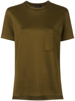 Классическая однотонная футболка By Malene Birger. Цвет: зелёный