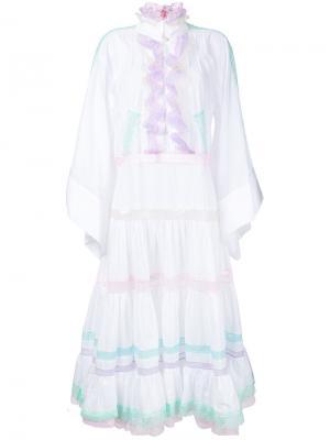 Платье с расклешенными рукавами и рюшами Natasha Zinko. Цвет: белый