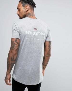 Good For Nothing Серая футболка с принтом на спине. Цвет: серый