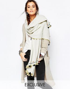 Blank Oversize-шарф с контрастными кисточками BL^NK. Цвет: зеленый