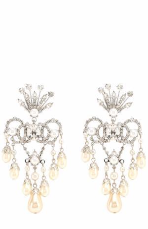 Серьги с кристаллами Swarovski Erickson Beamon. Цвет: белый