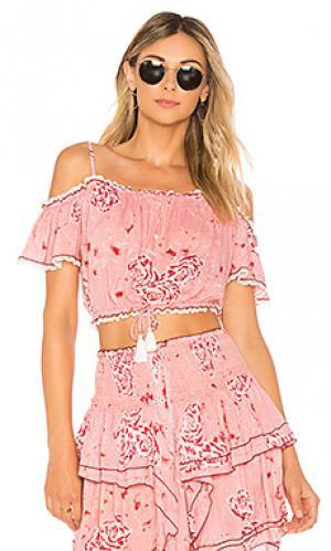 Блузка donna Poupette St Barth. Цвет: розовый