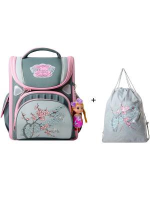 Ранец Across. Цвет: бирюзовый, розовый, серый