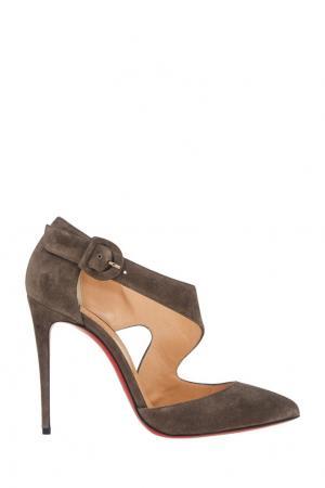 Замшевые туфли Sharpeta 100 Christian Louboutin. Цвет: серый