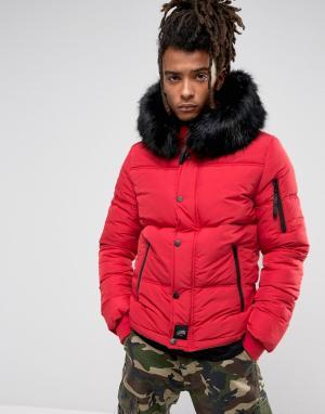 Sixth June Красная дутая куртка с искусственным мехом на капюшоне. Цвет: красный