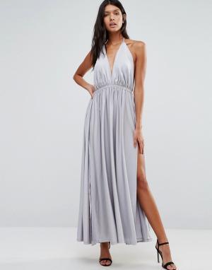 Pixie & Diamond Платье макси с глубоким вырезом спереди. Цвет: серебряный