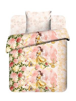Комплект постельного белья из бязи, Дисней Красавица и чудовище Василек. Цвет: розовый