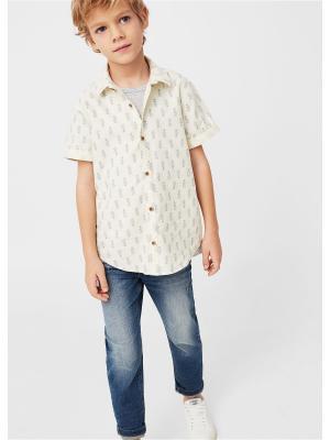 Рубашка - ESPI Mango kids. Цвет: светло-бежевый