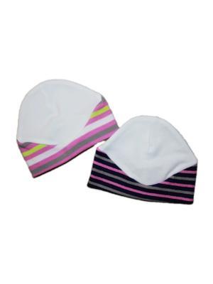 Шапочка 2 шт. интерлок/кашкорсе КиСса. Цвет: серый, розовый, белый