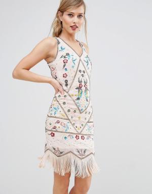 Frock and Frill Платье-чарльстон с вышивкой &. Цвет: кремовый