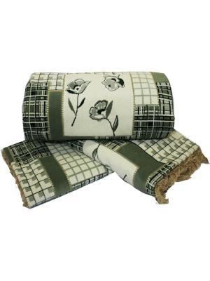 Комплект на мягкую мебель: покрывало 160Х210, накидка кресло 160Х90 - 2шт Dorothy's Home. Цвет: зеленый, белый, темно-зеленый