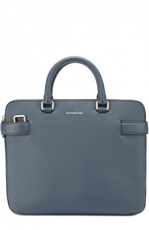Кожаная сумка для ноутбука с плечевым ремнем Ermenegildo Zegna. Цвет: синий
