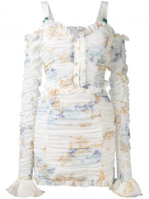Gathered mini dress Alessandra Rich. Цвет: белый