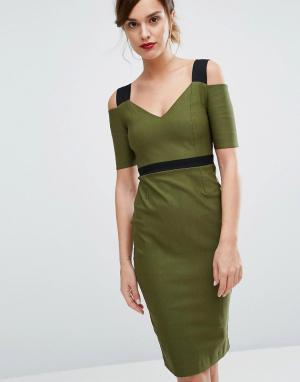 Vesper Платье миди с контрастными бретельками. Цвет: зеленый