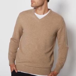 Пуловер с V-образным вырезом,  100% овечьей шерсти La Redoute Collections. Цвет: зеленый хаки меланж,красный темно-бордовый,темно-бежевый меланж