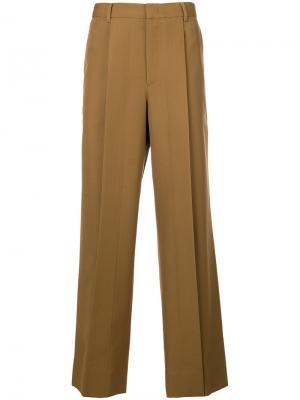 Классические брюки со складками Wooyoungmi. Цвет: коричневый