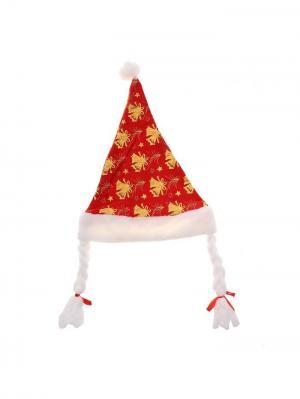 Новогодний колпак с косичками Колокольчики А М Дизайн. Цвет: красный, золотистый, белый