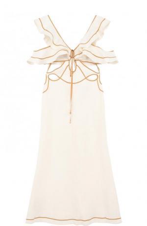 Льняное платье-миди с оборками Zimmermann. Цвет: кремовый