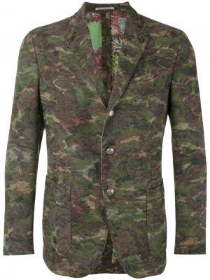 Пиджак с камуфляжным рисунком Gabriele Pasini. Цвет: зелёный