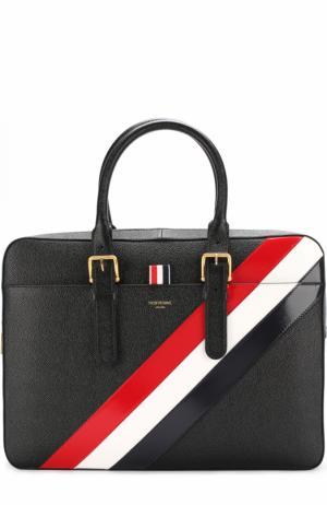 Кожаный портфель на молнии с контрастной отделкой Thom Browne. Цвет: черный