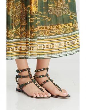 Кожаные сандалии Rockstud Rolling Valentino. Цвет: none
