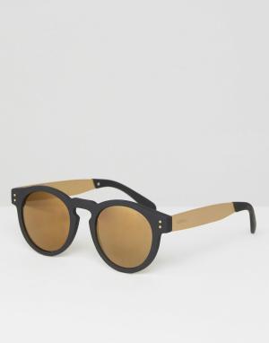 Komono Черно-золотистые круглые солнцезащитные очки Clement. Цвет: черный
