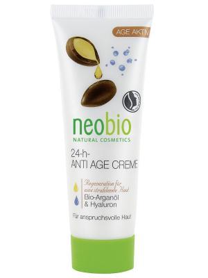 Neobio 24 часа  разглаживающий крем для лица. Цвет: белый