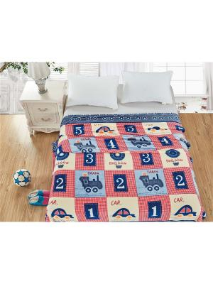 Плед велсофт,1,5-спальный Dream time. Цвет: кремовый, малиновый, синий