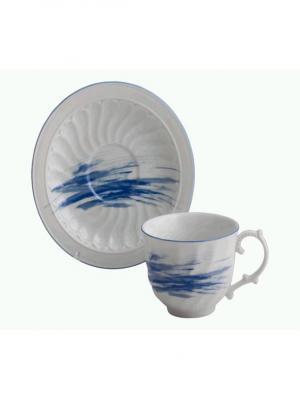 Чайная пара 250мл - Фантазия-1 Elff Ceramics. Цвет: синий,белый