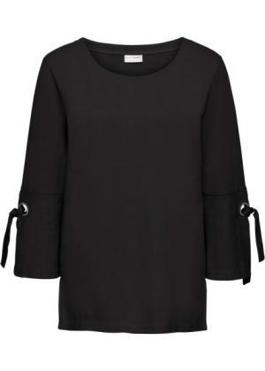 Свитшот с люверсами и шнуровкой (черный) bonprix. Цвет: черный