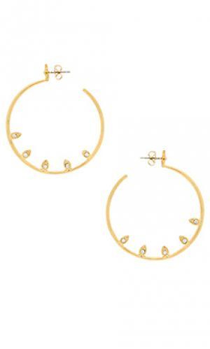 Серьги-кольца с инкрустированной отделкой posie Luv AJ. Цвет: металлический золотой