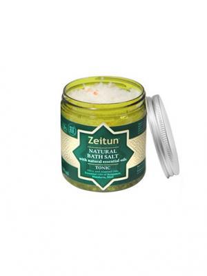 Морская соль для ванн Зейтун Тонизирующая, с маслами бергамота, мандарина, мяты. Цвет: светло-бежевый