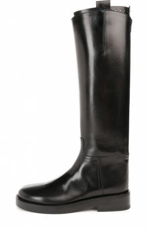 Кожаные сапоги с декоративной пряжкой Ann Demeulemeester. Цвет: черный