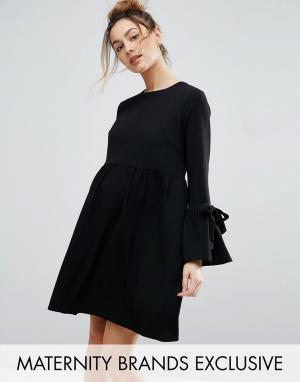 Queen Bee Свободное платье с рукавом-колоколом и завязками. Цвет: черный